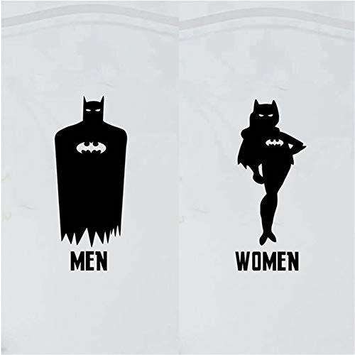 n Wc Tür Aufkleber Batman Batwoman Kinder Wc Tür Aufkleber Aufkleber Kreative Kunst Wc Zeichen Dekoration ()