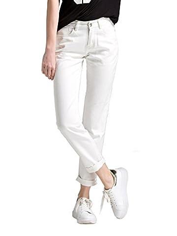 Alice & Elmer Jeans Boyfriend Denim Relaxed Coupe Droite,Jeans Femme, Blanc 32