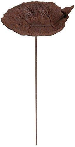 Esschert Design Vogeltränke Blattmotiv mit Stab, 24 x 100 x 25 cm, FB114