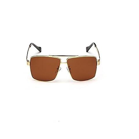 HTWWJ Metal Polarized Retro Sunglasses Men's Frame Sunglasses , golden tea slice (tyrant)