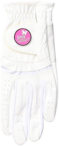 Lady Classic Damen Soft Flex Handschuhe mit Magnetisch Ball Marker, Linke Hand, klein, weiß