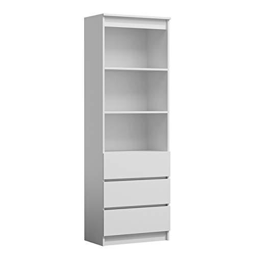 Mirjan24  Standregal Harvard RS-60, Bücherregal mit 3 Fächer und 3 Schubladen, Aktenregal Universal Regal Schranke (Weiß) -