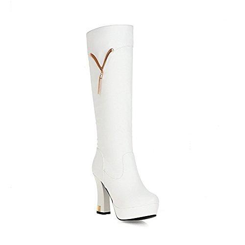 VogueZone009 Damen Rund Zehe Hoch-Spitze Hoher Absatz Eingelegt Pu Leder Stiefel Weiß