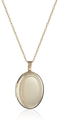 Amazon 14k Gold-Filled Oval Millgrain Edge Locket Necklace 18