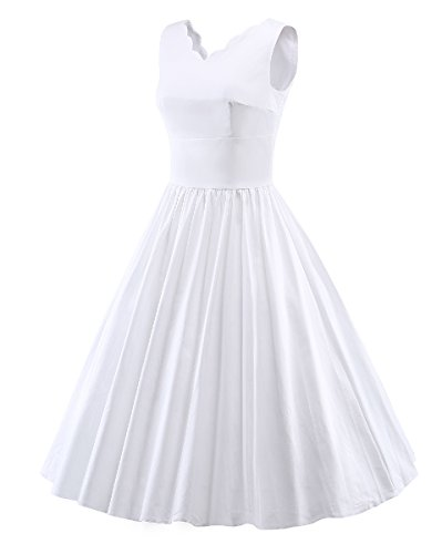 LaoZan Vintage Rockabilly Swing Robe de soirée Sans manches Robe Casual Femme Blanc