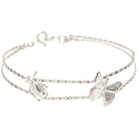 Wouters y ley de Hendrix plata multi-strand pulsera con la mariposa colgante de Escarabajo de longitud 17,5