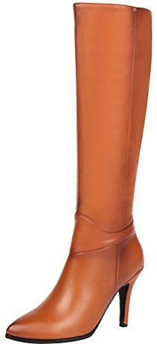 ELEHOT Donna Ele*fare? tacco a spillo 10CM Leather Stivali, marrone,