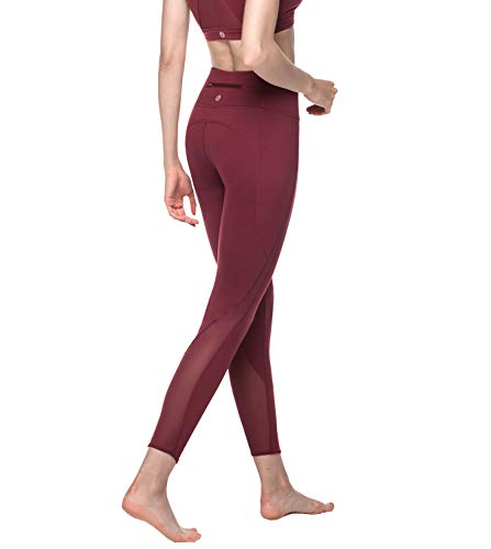 LAPASA Damen Sport Mesh Leggings - TUMMY CONTROL - High Waist Lang Yoga Sporthosen mit Taschen Tights Gym Fitness L22 (Weinrot, L)