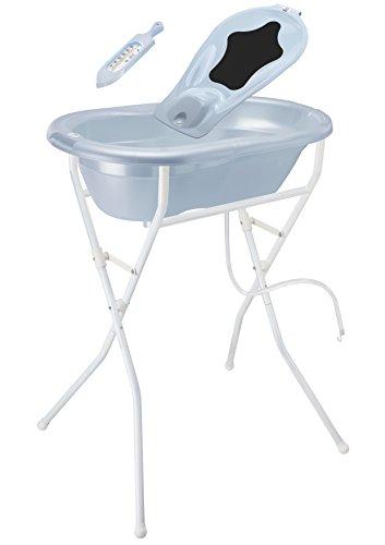 Rotho Babydesign Badelösung TOP / Babybadewanne mit Ständer 98 cm hoch, einklappbar / Baby Badeset inkl. Wanneneinlage, Ablaufschlauch und Thermometer / babybleu perl