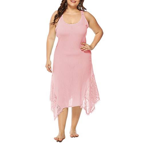 (Produp Frauen Mode Sexy Kleider Plus Size Leibchen Reine Farbe Backless Spitze Spleißen Unregelmäßigkeit Party Kleid)