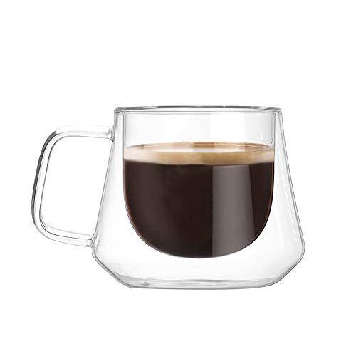 tazze da caffè in vetro a doppia parete tazza da caffè isolata con manico bicchieri da thermo borosilicato ultra forte per vino tè latte caffè espresso succo birra caffè bevanda, 200 ml / 7 oz