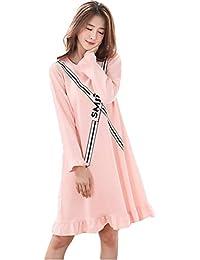 Pijama Mujer Algodon Otono Manga Larga camisón Mujer Talla Grande Ropa de Dormir Vestido Casual (
