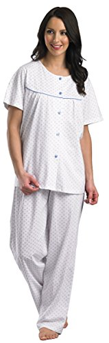 Luxury Quality Ladies Lounge Suit Pyjamas Size Small Medium Large & XL Bianco, blu Ditsy