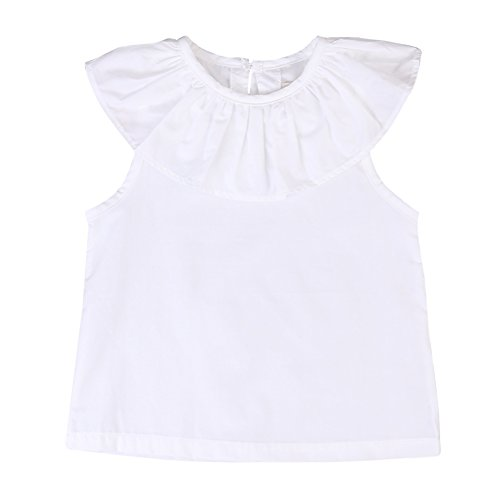 Kids Baby Girls Sleeveless Ruffled Tops White Blouse Bottoming Shirt (12-24 Months, White)