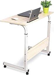 مكتب لاب توب مع حامل هاتف محمول مناسب للكمبيوتر ومحطة العمل مع ارتفاع قابل للتعديل وعجلات دوارة قابلة للحركة م