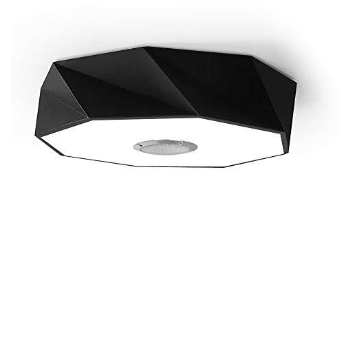 LED Deckenleuchte Dimmbar Farbwechsel 24W Ø42cm Moderne nordische Geometrie, Deckenlampe mit Bluetooth Lautsprecher mit Fernbedienung + APP, Wohnzimmer Schlafzimmer Pendelleuchte Restaurant Schwarz