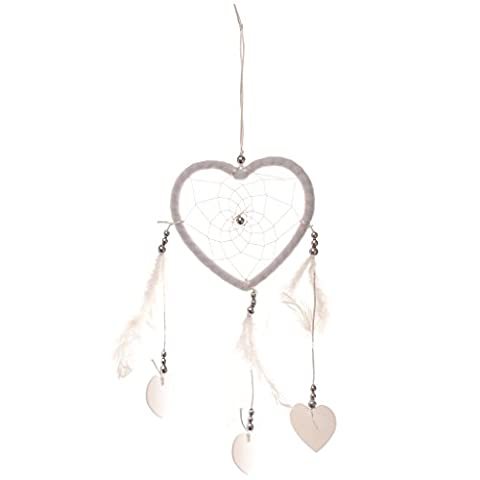 MagiDeal Vintage White Heart Shape Feather Dream Catcher Home Wall Hanging Decor