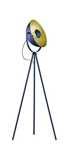 lightling modern Stehleuchte Lotta Design matt-schwarz/gold 1 x E27 max. 60W, ø 40 cm, Höhe 120-160 cm