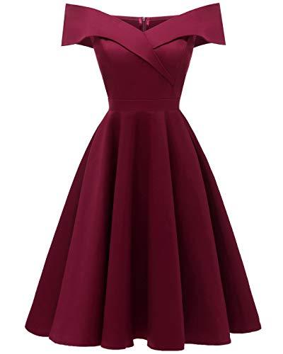 BAIHUODRESS Vintage 1950s Coctel Vestito a Pieghe Donna Corta 47feb989492