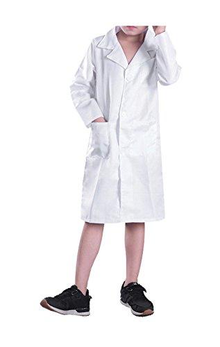 ostüm Laborkittel Weiß aus Baumwolle Schule und Handwerk, 4-14 Jahre Weiß 128-140 (Arzt Kind Kostüme Kit)