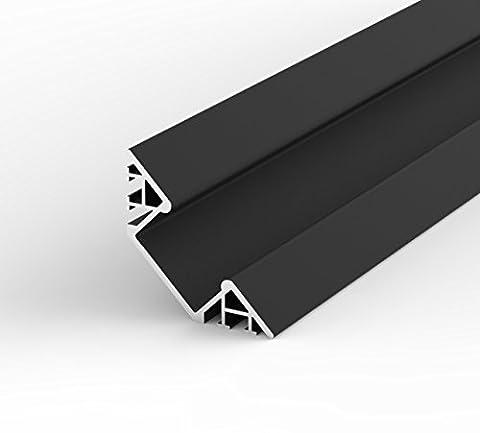 SET: LED Profil, 100cm Profil LED 45° für LED Streifen, aluminium led profil LT7 + Abdeckung (Schwarz