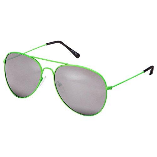 Ciffre EL-Sunprotect® Pilotenbrille Fliegerbrille Sonnenbrille Brille Top Design Neon Grün Silber Verspiegelt