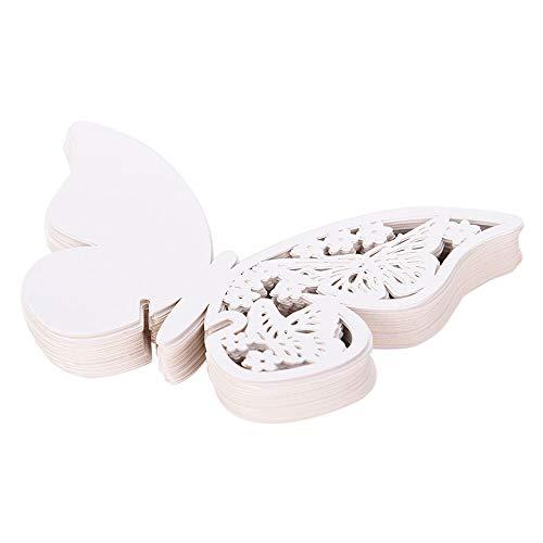 DOXMAL 50x Schimmer Tischkärtchen Weiß Laser Cut Herz sitzkarten Hochzeit Namenskarten Hochzeitsfeier Champagner Tischdeko Glasahänger für Hochzeiten Feste (Schmetterling)