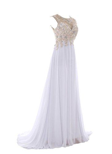 YiYaDawn Langes Elegantes Rückenfreies Abendkleid Brautkleid für Damen Weiß