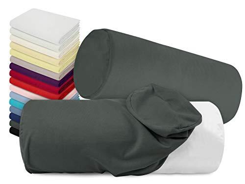 npluseins Doppelpack Jersey-Kissenhüllen in 17 Farben - Einheitsgröße ca. 40 x 15 cm- geeignet für Nackenrollen - 100% Mako-Baumwolle, Titanium -