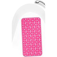 Lashuma Rutschfeste Badewanneneinlage mit Saugnäpfen in pink mit Blüten Muster, Antirutsch Matte für Wanne ca.35x73 cm