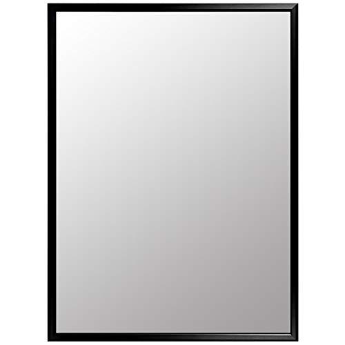 GUOWEI Badezimmer Spiegel Wandhalterung Metall Rahmen Rechteck Make-up Dekoration Einfach, 5 Farben (Farbe : SCHWARZ, größe : 60x80cm)