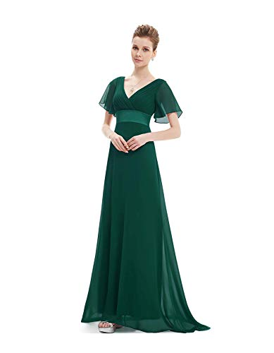 Ever-Pretty Plus Size Double V-Neck Evening Gowns Long Bridesmaid Cocktail Dress Dark Green 22 - Dark Green-chip