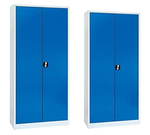 Stahlschrank Set Aktenschrank Büroschrank Metallschrank Set 195x92x42cm + 180x80x38cm (HxBxT) - Aktenschränke Montiert Komplett
