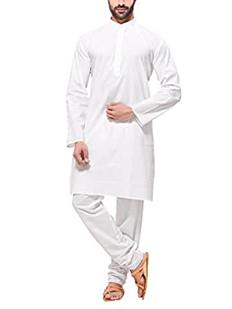 RG Designers Men's Cotton Kurta Pajama Set (CottonPlainWhiteAKurta Pajama Set36_White_Small)