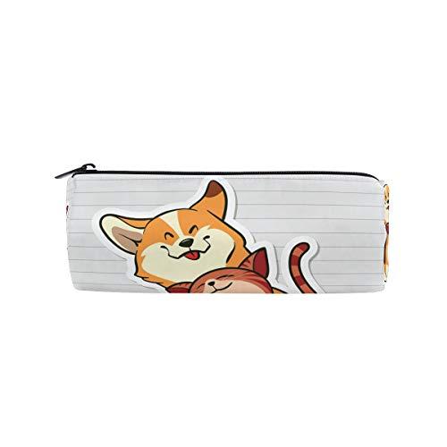 Bonipe Federmäppchen mit süßem Tier, Katze, Hund lächelnd, für Schule, Schreibwaren, Stiftebox, Reißverschluss (Halloween-make-up Einfach Katze Süß)
