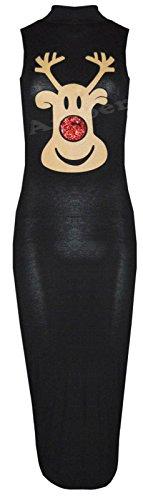 Robe moulante Pour femmes Imprimé de Noël Pingouin Rudolphe Paillettes Rouge - RUDOLPH BLACK