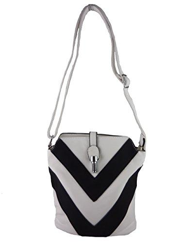 Hanna H0447, kleine Damen Umhängetasche, Handtasche gestreift zweifarbig, 24 x 20 x 10 cm (beige aprikot) weiß
