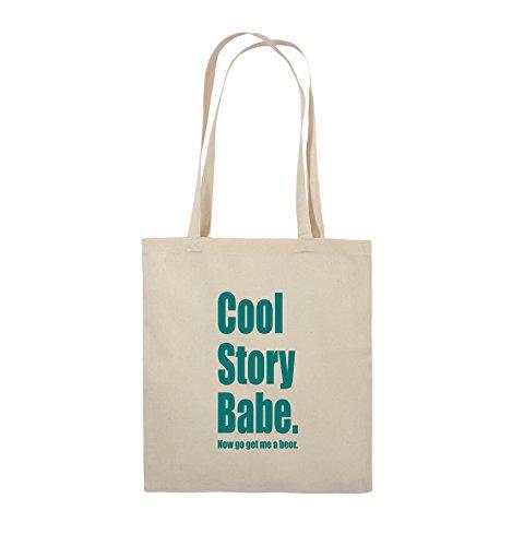 Comedy Bags - Cool Story Babe now get me a beer - Jutebeutel - lange Henkel - 38x42cm - Farbe: Schwarz / Silber Natural / Türkis