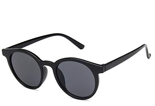 LUXIAOYU Korea Retro Runde Box Creme Mokka Braune Sonnenbrille Kleiner Rahmen Wild Net Rot Mit Dem gleichen Absatz Sonnenbrille Weibliches Wildes Gesicht Beste Geschenkwahl,Black