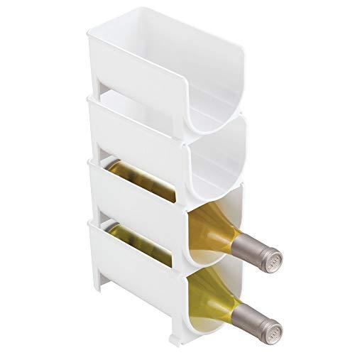 mDesign Rangement bouteille – Ce casier à bouteille est l'accessoire parfait pour ranger les bouteilles – Porte bouteille empilable idéal pour les bouteilles de vin – Pack de 4 – Sans BPA – Blanc