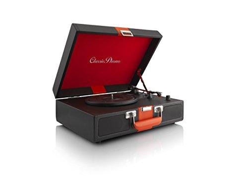 Classic Phono TT-33 Koffer-Plattenspieler im Retro-Stil, Kunstlederoberfläche, AUX-Eingang, RCA Line Ausgang, 2 eingebaute Lautsprecher, Riemenantrieb, halbautomatisch, schwarz