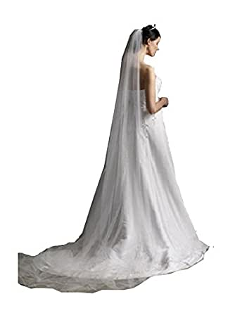 Extra long Cathedral Bridal Wedding Soft tulle Veil WITH COMB photography (white)