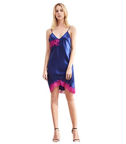 Damen 100 Silk Nachthemd Short Low Scoop Back Damen Chemise Stickerei Sexy Nightgown Nachtwäsche,XL -