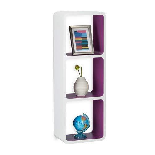 Relaxdays Wandregal mit 3 Fächern, offenes Cube Schweberegal o. Standregal für Deko, CDs, Bücher, 90x30 cm, weiß-violett