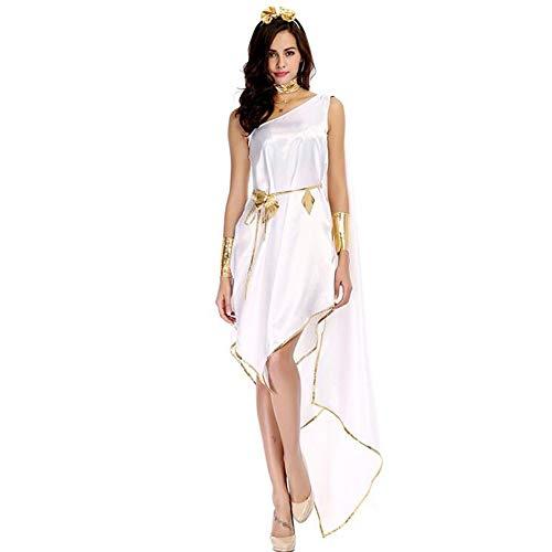 Frauen Erwachsene Halloween Kostüm Griechische Göttin Elegante Unregelmäßigen Langen Rock (Beinhaltet Rock + Kopfschmuck + Hals Dekoration + Gürtel + Armband),Weiß,M