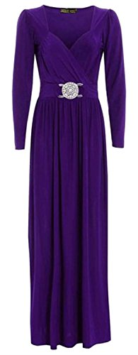 CHOCOLATE PICKLE New Womens Long Sleeve Wrap Over Buckle Long Maxi Dress 8-22 (24-26, Purple)