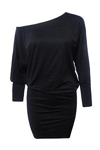 Malloom Mini Robe Femmes Manches longues pour femme à partir d'épaule mini robe tunique batwing Noir