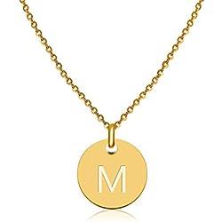 Good.Designs ® Collier d'initiales avec Lettres en Or, Pendentif Alphabet en Acier Inoxydable avec revêtement en Or véritable 18 carats (Lettre M)