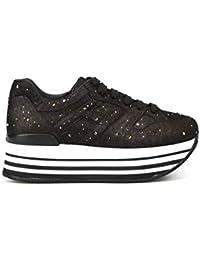 24284727ba Hogan Women's GYW2830AY30JQLS800 Black Leather Sneakers