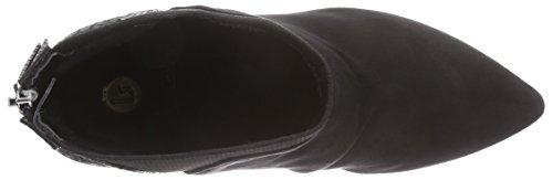 La Strada Schwarze Suède-Look Damen Kurzschaft Stiefel Schwarz (2202 - micro black)